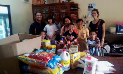The wonderful Mak family delivering tons of food and kitchen items to our kitchen manager Gilbert and volunteer nurse Marie Genries